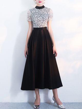 Wedding Guest Dress White Black Dress Half High-neck Short Sleeve Lace Hollow Maxi Banquet Evening Dresses