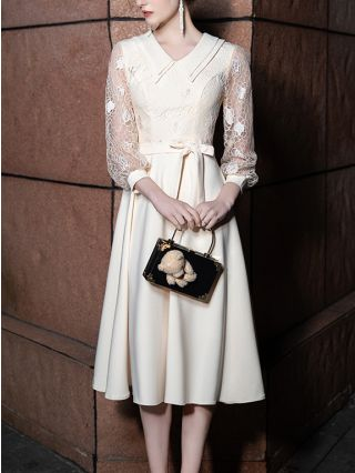Wedding Guest Dress Champagne Dress Lapel See-through Long Sleeve Lace Stitching Belted Banquet Evening Long Dresses