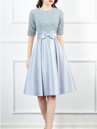 Homecoming Dress Blue Dress Half-sleeve Round Neck Hollow Bowknot Stitching Midi Banquet Evening Dresses