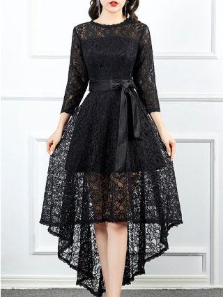 Black Dress Lace Dress Three Quarters Sleeve Round Neck Homecoming Dress Belted Irregular Banquet Evening Long Dresses