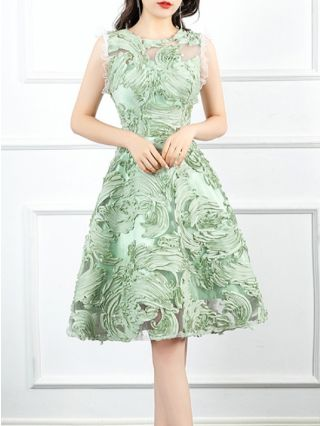 Homecoming Dress Green Dress Lace Ruffled Sleeveless Round Neck Gauze See-through Short Party Evening Dresses