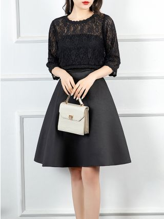 Two Piece Dress Black Dress Three Quarters Sleeve Round Neck Lace Tops Homecoming Dress Tube Top Hepburn Style Short Banquet Evening Dresses