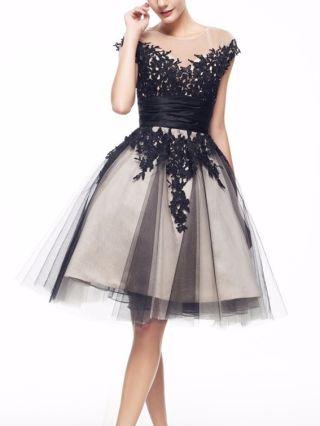 Homecoming Dress Black Dress Lace Gauze See-through Raglan Sleeve Open Back Short Banquet Evening Dresses