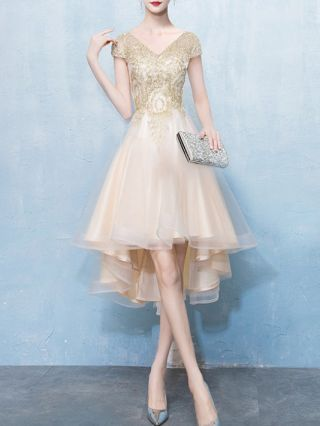 Homecoming Dress Champagne Dress Short Sleeve V-Neck Gold Lace Gauze Stitching High-low Banquet Evening Dresses