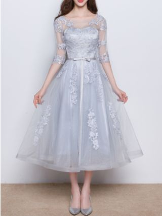 Homecoming Dress Grey Dress Three Quarters Sleeve Round Neck Lace Gauze See-through Bowknot Bridesmaid Evening Long Dresses