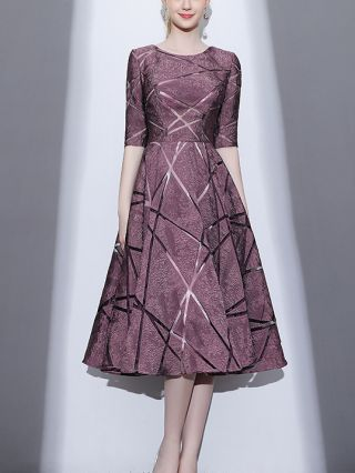Homecoming Dress Purple Dress Half-sleeve Round Neck Lace See-through Midi Banquet Party Evening Dresses