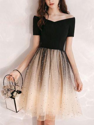 Homecoming Dress Black Dress Off the Shoulder Short Sleeve Sequins Gauze Gradient Color Short Banquet Evening Dresses