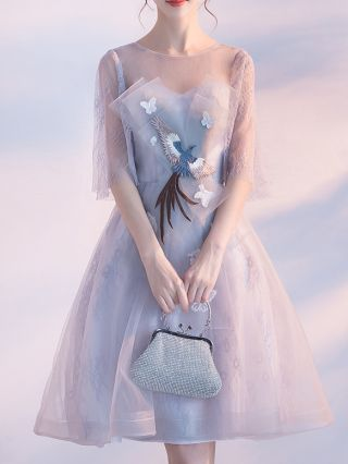 Bridesmaid Dress Grey Dress Half-sleeve Round Neck Phoenix Bird Embroidery Homecoming Dress Short Banquet Evening Dresses