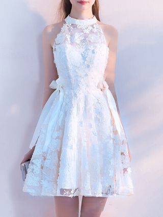 Bridesmaid Dress White Dress Halter Sleeveless Lace Gauze See-through Bowknots Homecoming Dress Short Banquet Evening Dresses