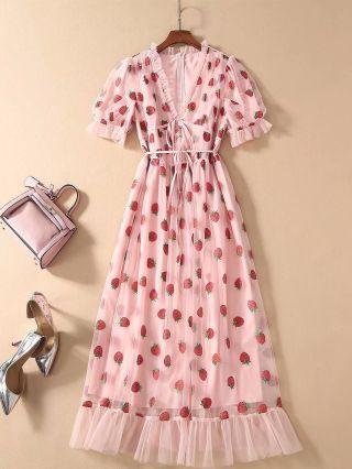 Strawberry Dress Pink Dress Ruffled Deep V-Neck Short Sleeve Floral Printed Summer Dress Gauze Belted Maxi Party Evening Dresses