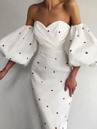 Strawberry Dress White Black Dress Off the Shoulder Lantern Sleeve Open Back Floral Printed Maxi Split Pencil Summer Dresses