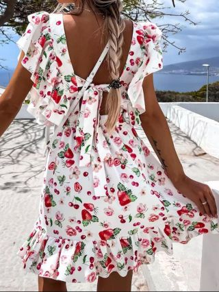 Strawberry Dress White Dress Floral Printed Ruffled Short Sleeve Square Neck Open Back Bowknot Short Summer Dresses