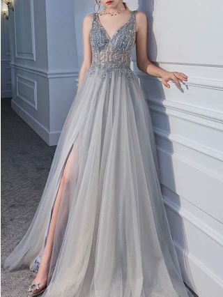 Wedding Guest Dress Silver Grey Dress Beading Sequins Gauze Deep V-Neck Sleeveless Maxi Split Party Evening Dresses