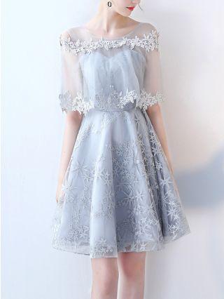 Bridesmaid Dress Grey Dress Graduation Dress Lace Gauze Stitching Cape Sleeveless Round Neck Short Party Evening Dresses