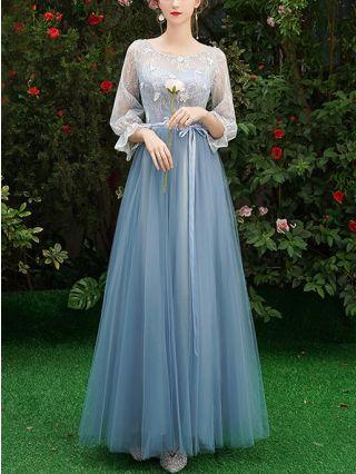 Bridesmaid Dress Grey Blue Dress Three Quarters Sleeve Round Neck Lace Gauze Homecoming Dress Maxi Belted Evening Prom Dresses