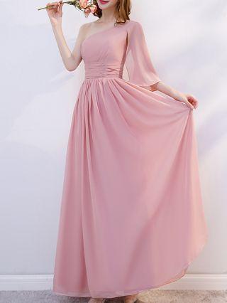 Bridesmaid Dress Pink Dress Short Sleeve V-Neck One Shoulder Sleeveless Tube Top Solid Color Chiffon Maxi Evening Dresses