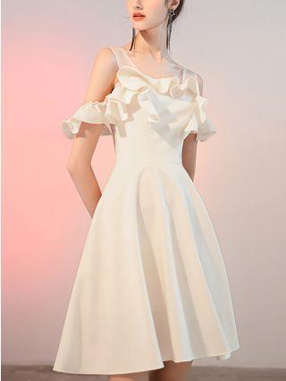White Dress Black Dress Cold Shoulder Ruffled Short Sleeve Backless Homecoming Dress Short Party Evening Dresses