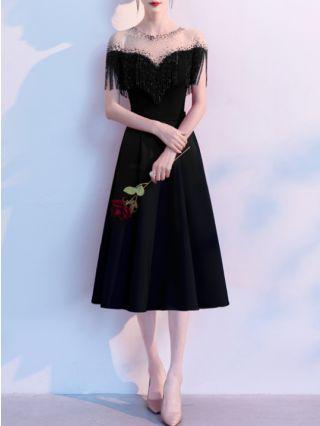 Wedding Guest Dress Black Dress Sequin Tassel Homecoming Dress Gauze See-through Round Neck Midi Banquet Evening Dresses