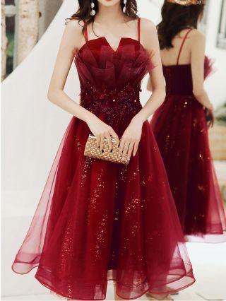 Bridesmaid Dress Burgundy Dress Straps Open Back Lace-up Homecoming Dress Flower Sequins Gauze Midi Banquet Evening Dresses