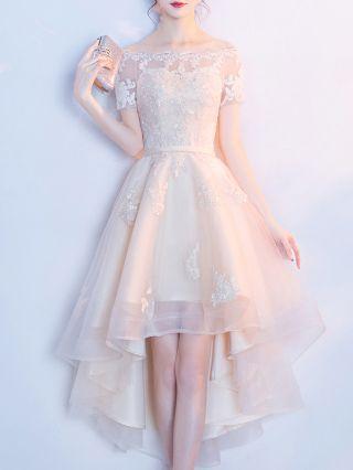 Bridesmaid Dress Off the Shoulder Short Sleeve Graduation Homecoming Dress Lace Gauze High-low Banquet Evening Dresses