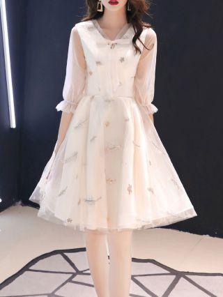 Homecoming Dress Graduation Dress Three Quarters Sleeve V-Neck Sequins Bowknot Gauze See-through Bridesmaid Evening Dresses