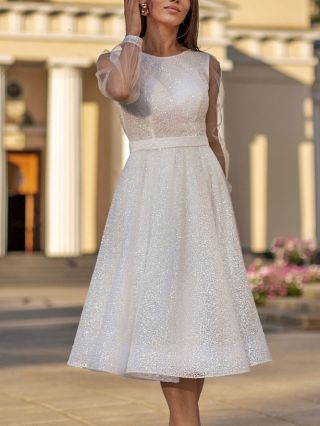 Homecoming Dress White Dress Gauze See-through Long Sleeve Round Neck Beading Sequins Party Evening Dresses