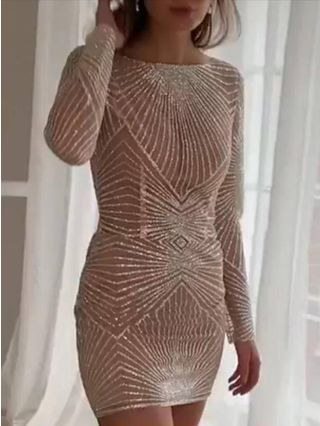 Wedding Guest Dress Champagne Dress Sequins Long Sleeve Round Neck Bodycon Short Party Evening Dresses