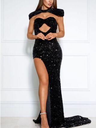 Wedding Guest Dress Black Dress Sequins Tube Top Cut Out Maxi Split Banquet Party Evening Dresses