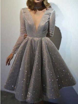Homecoming Dress Grey Dress White Dress Long Sleeve V-Neck Midi Swing Party Evening Dresses