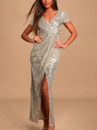 Wedding Guest Dress Silver Dress V-Neck Short Sleeve Sequins Draped Maxi Split Party Evening Dresses
