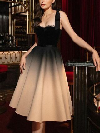 Homecoming Dress Black Dress Sleeveless Open Back Gradient Color Party Evening Long Dresses