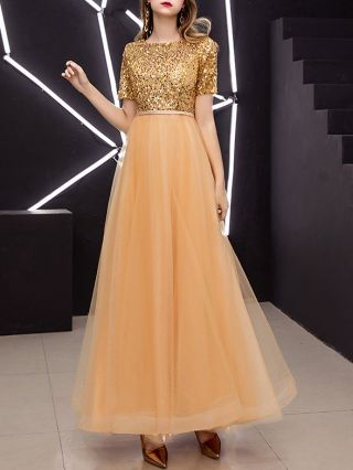 Homecoming Dress Gold Dress Black Dress Short Sleeve Round Neck Sequins Graduation Dress Gauze Maxi Party Evening Dresses