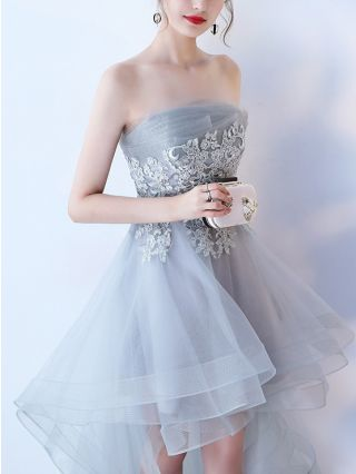 Bridesmaid Dress Grey Dress Black Dress Tube Top Lace Gauze Stitching Homecoming Dress Irregular High-low Banquet Evening Dresses
