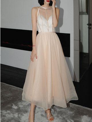 Bridesmaid Dress Champagne Dress Sleeveless Round Neck Gauze See-through Homecoming Dress Vintage Evening Long Dresses