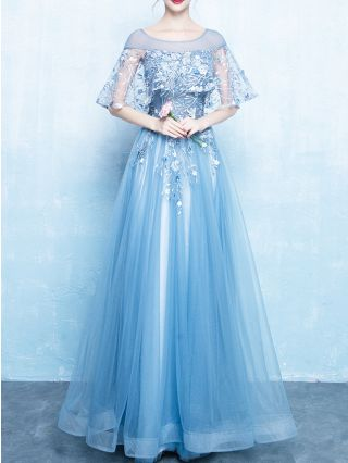 Bridesmaid Dress Blue Dress Bell Half-sleeve Round Neck Lace Beading Gauze Maxi Evening Prom Dresses