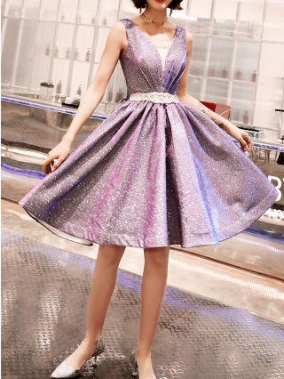 Bridesmaid Dress Purple Dress Sleeveless V-Neck Starry Sky Rhinestone Homecoming Dress Backless Lace-up Party Evening Dresses