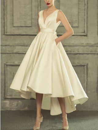 Bridesmaid Dress White Dress Sleeveless V-Neck Solid Color High-low Dress Satin Maxi Evening Prom Dresses