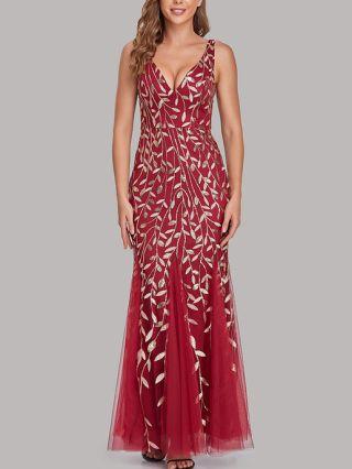 Bridesmaid Dress Sleeveless Deep V-Neck Sequins Embroidery Backless Maxi Mermaid Evening Prom Dresses