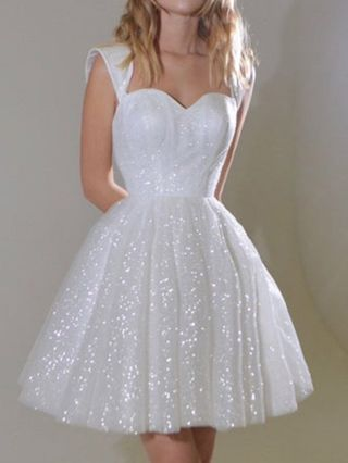 Homecoming Dress White Dress Sleeveless Tube Top Open Back Sequins Short Swing Banquet Party Evening Dresses