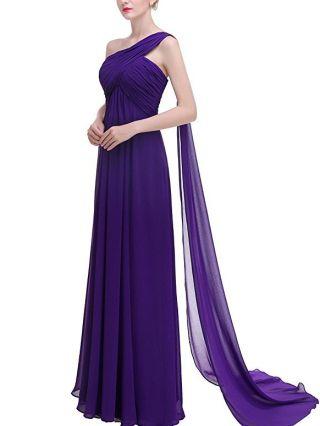Bridesmaid Dress Purple Dress Vintage One Shoulder Irregular Sleeveless Homecoming Dress Chiffon Maxi Evening Prom Dresses