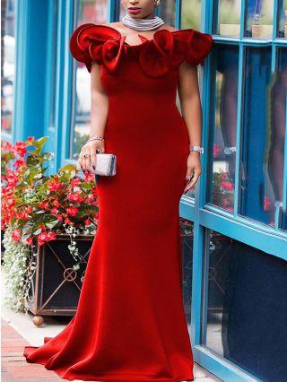 Bridesmaid Dress Burgundy Dress Off the Shoulder Ruffled Solid Color Maxi Banquet Party Evening Dresses