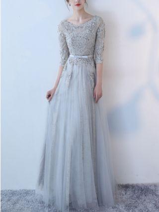 Bridesmaid Dress Three Quarters Sleeve Round Neck Lace Beading Gauze Maxi Banquet Party Evening Dresses