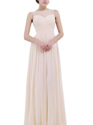 Bridesmaid Dress Champagne Dress Chiffon Sleeveless Round Neck Homecoming Dress Maxi Banquet Evening Dresses
