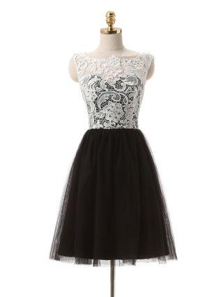 Bridesmaid Dress White Black Dress Lace Sleeveless Round Neck Back Single Breasted Homecoming Dress Short Banquet Evening Dresses