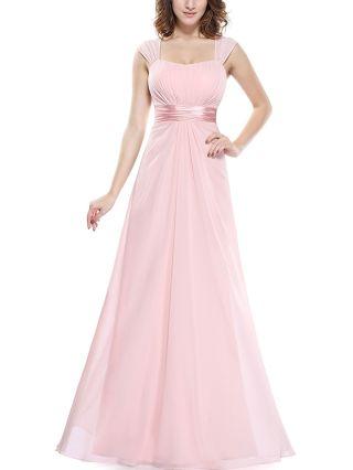 Bridesmaid Dress Pink Dress Sleeveless Square Neck Cut Out Draped Chiffon Maxi Party Evening Dresses