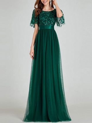 Bridesmaid Dress Dark Green Dress Short Sleeve Round Neck Sequins Stitching High Waisted Maxi Party Evening Dresses