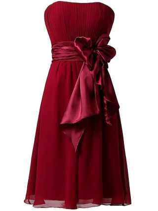Bridesmaid Dress Burgundy Dress Tube Top Large Bowknot Homecoming Dress Solid Color Short Chiffon Party Evening Dresses