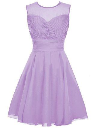 Bridesmaid Dress Purple Dress Sleeveless Round Neck Homecoming Dress Chiffon Short Banquet Evening Dresses