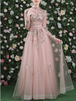 Bridesmaid Dress Pale Mauve Dress Vintage Stand Collar Long Sleeve Beading Embroidery Lace Gauze Maxi Banquet Evening Dresses