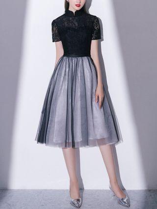 Little Black Dress Vintage Stand Collar Short Sleeve Lace Gauze Stitching Graduation Homecoming Dress Midi Party Evening Dresses